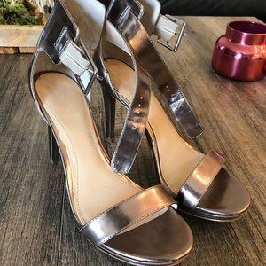 Calvin Klein pewter ankle strap heel